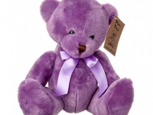 Мишка плюшевый 20 см фиолетовый