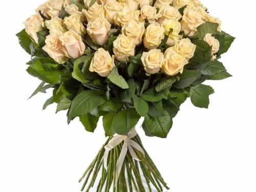 Букет из 51 кремовой розы 60 см