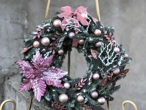 Венок Новогодний с пуансетией